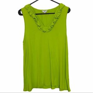 Crown & Ivy Lime Green Ruffle Neck Tank